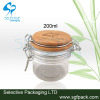 kiner jar PET container with bamboo lid wooden lid for food container 100ml 200ml 300ml 400ml plastic container conister
