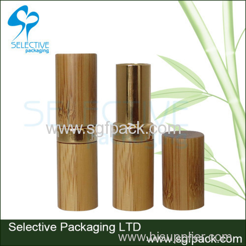 2019 hot sale bamboo/wood cosmetic packaging bamboo and gold aluminum empty lipstick container