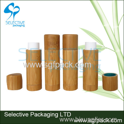 natural package bamboo lip balm case cosmetic container empty bamboo lip balm container