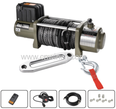 DC 12V/24V Car winch Auto winch 12000lbs with synthetic rope 10mm x 28m