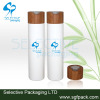 Bamboo disc cap white lotion bottle