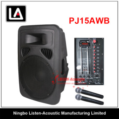 15 inch Plastic Active Cabinet Speaker With Microphone and Battery PJ 15AWB