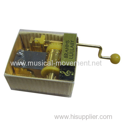 RIBBED KRAFT PAPER MUSIC BOX 18 NOTE HAND CRANK GOLDEN MOVEMENT
