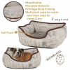 Luxury linen fabric pet beds with vintage printing square style