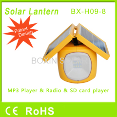 solar camping lantern with mobile phone charger fm radio mp3 sd