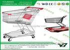 Large Capacity Asian Style Supermarket Shopping Trolley / Steel Shopping Cart