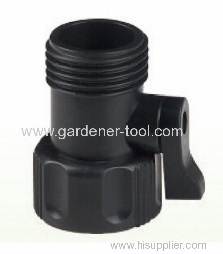 Plastic 2-way hose connector with valve