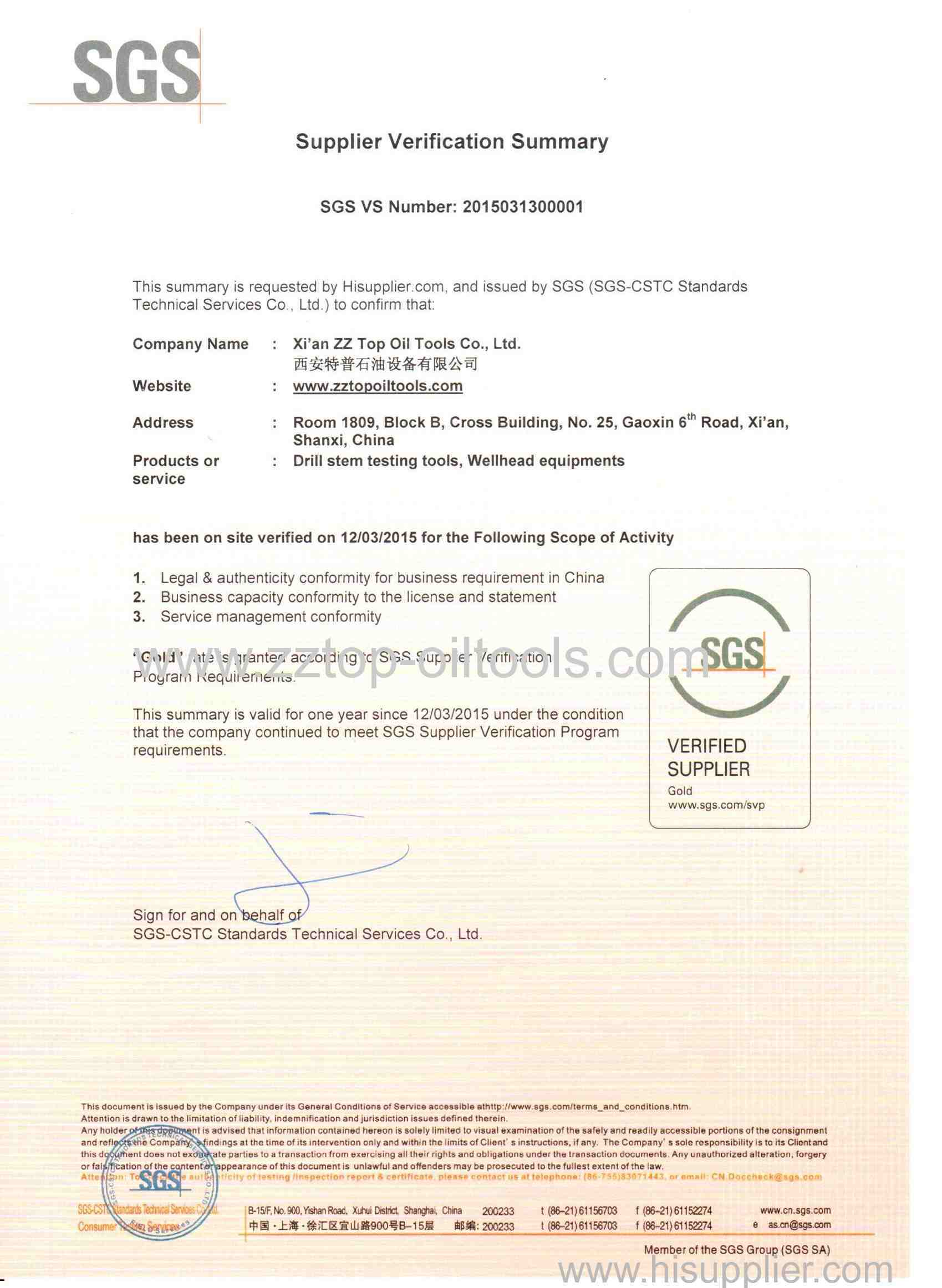 SGS certified supplier