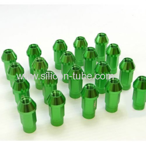 Aluminium colored racing car wheel locking Lug nut