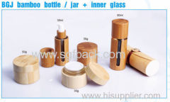 BGJ bamboo bottle and jar inner glass bamboo cosmetic container 30ml 50ml foundation bottle 30g 50g bamboo cream jar