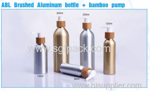 ABL brushed Aluminum bottle bamboo pump shampoo conditioner hair serum and lotion bottle aluminum 120ml aerosol bottle