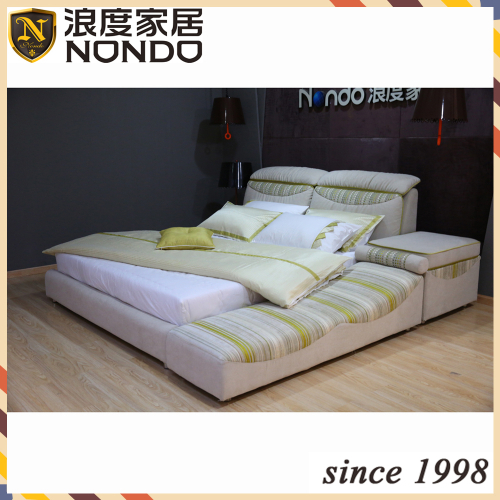 Solid wood bed king size soft bed
