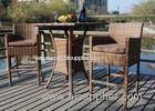 Weatherproof 3 Piece Patio Furniture Rattan Bar Set With 2 Stools