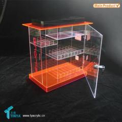 Supplier Custom 3-tier Locking Display Counter Plastic E cig Display Showcase Storage Acrylic Vapor Pen Display Stand