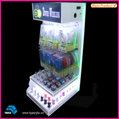 Wholesale Lighted Counter Display Plastic Phone Charger Display Acrylic Cell Phone Accessory Display Rack with Hooks