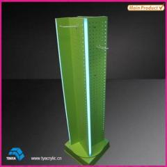 Wholesale Retail Store Rotating Lighted Floor Stand Mobile Accessories Display Rack Acrylic Display Stand Accessories