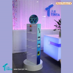 Custom 2-side Hanging Cases Pegboard Display Acrylic Retail Display Stand Rotating Phone Accessories Floor Display Stand