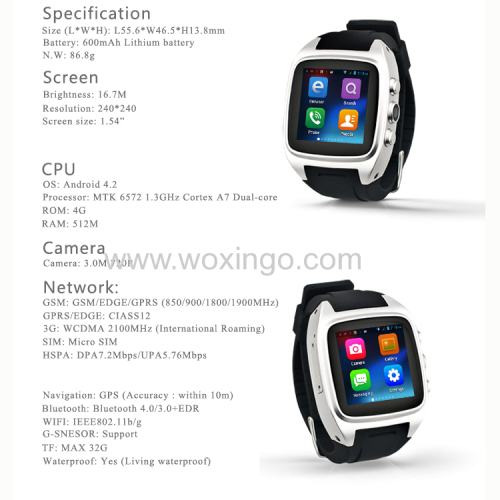 China 2015 Android Smart Watch with Watch Mobile Phone