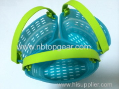 New Silicone 3 compartments steaming basket with handle