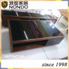 Wooden antique coffee table with tempered glass top