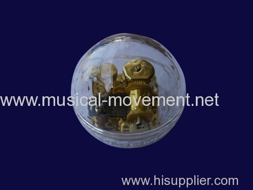 ACRYLIC GLOBE KEY WINDING MUSIC BOX 18 NOTE GOLDEN MUSICAL MOVEMENT
