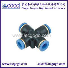 snap connector nipple 4-way cross pipe fitting one touch quick connectors push fit fittings