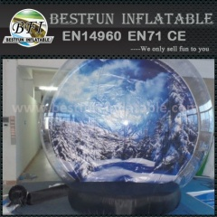 Giant Inflatable Human Snow Globe with Advertising Background