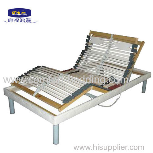 electric slat birch bed with twin-mat motor and wired handset