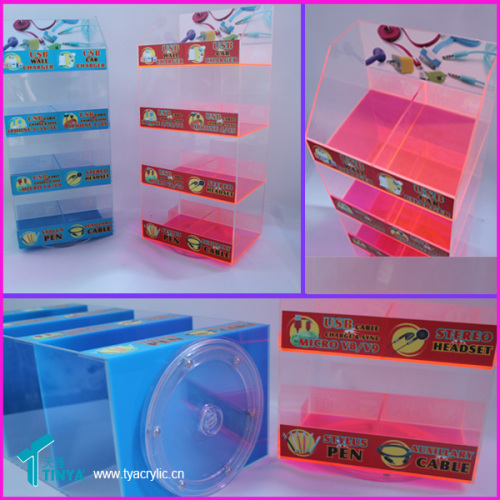 Custom Clear Acrylic Box Sticker Plastic Display Case for iPhone 5 Cable USB