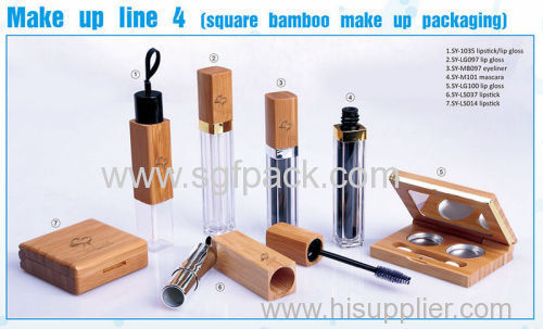 square bamboo lipgloss/mascare/eyeliner bottle/lipstick bottle empty bamboo cosmetic packaging