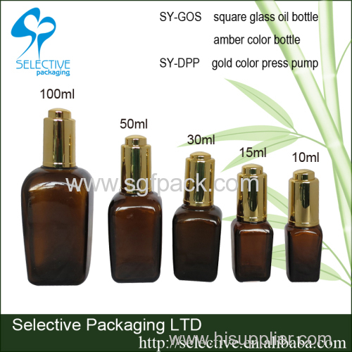 glass bottle for essential oil brown bottle square glass bottle 10ml 15ml 20ml 30ml 50ml 100ml amber color droper bottle