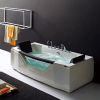 White Acrylic Massage bathtub with 2 Built-in Headrests