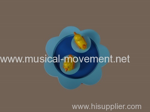 SWIMMING DUCKLINGS WOODEN WIND UP MUSIC BOXES YUNSHENG MAGNET MOVEMENT