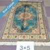 3x5ft handmade silk oriental blue turkish medallion rug
