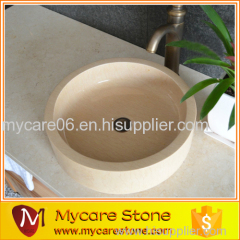 Decoration Honey beige stone bathroom wash basin sink
