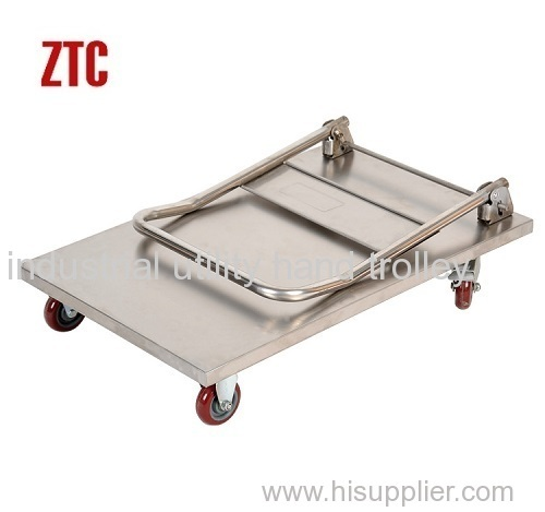 Folding stainless steel platform hand trolleys