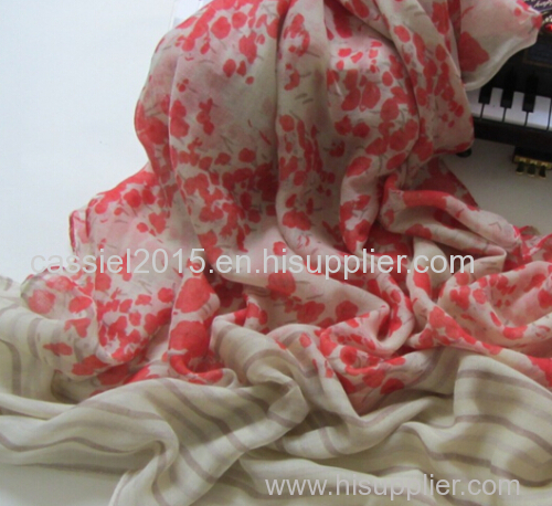 light red small broken flower fashion print 100%polyester scarf
