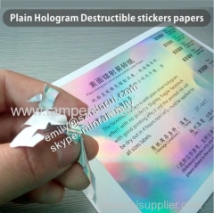 Custom Minrui Plain Hologram Destructible Vinyl Eggshell Seal Sticker Self Adhesive Label Papers In Sheets