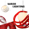 Rope adjustable red color E27 lamp holder indoor resin pendant lamp 60w ball shape P1003