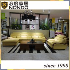 Luxury Modern Sectional Genuine Leather Sofa with sofa bed