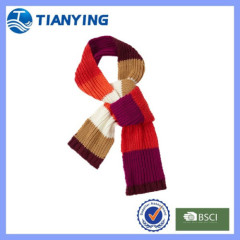 Tiangying women colorful acrylic stripe knitted scarf