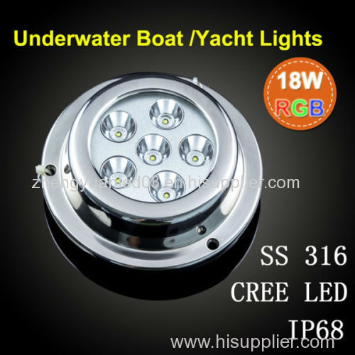 led underwater boat light for marine boat and yacht 6*3w