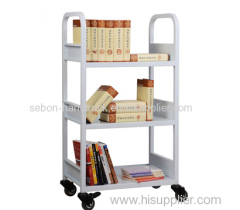 Three layers library book cart with 3 flat shelves