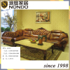 Classic wood frame leather sofa