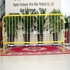 Removable flat feet 1.1m x 2.5m crowd control barrier yellow color powder coated pedestrian barrier fence