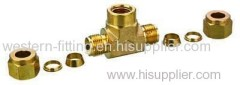 Brass Pneumatic Compression Tee Connector