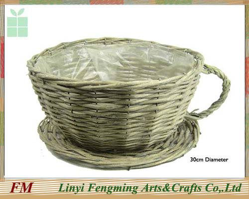 Europe style Eco-friendly pure handmade willow basket wicker fruit tray with liner