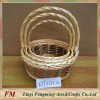 wicker gift basket with cotton cloth linning and leather handle