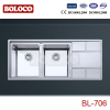 Italy High Quality Matt Double bowl Single drainer Welding rectangle sink 304# BL706