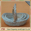 On sale round white willow wicker gift basket for Christmas with long handle